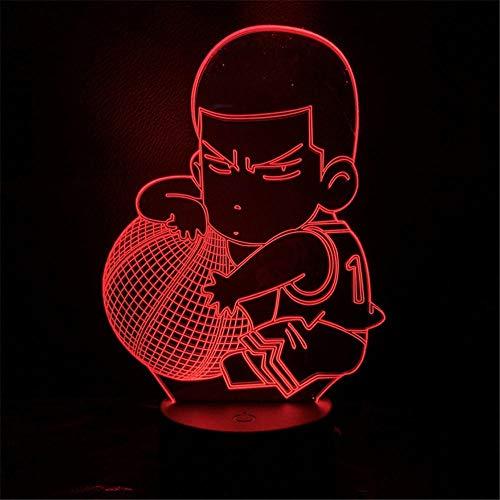 3D noche luz Lampa Slam Dunk figura Hanamichi Sakuragi anime lámpara decoración hogar mesa luces 3D noche luz 7 color cambiante niños regalo muñeca ASQWZX