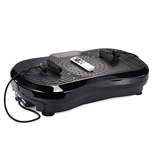ERGO LIFE Fitness Vibrationsplatte, Ganzkörper Trainingsgerät, Vibrationstrainer für unterschiedliche Muskelgruppen Vibrationsgerät mit Fernbedienung, Trainingsbänder rutschfest (Schwarz)