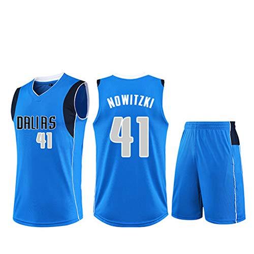 Herren-Basketball-Trikots für Dirk Nowitzki # 41 Männer Basketball-Jersey New Jersey (Größe: XS-XXL)-Blue-S