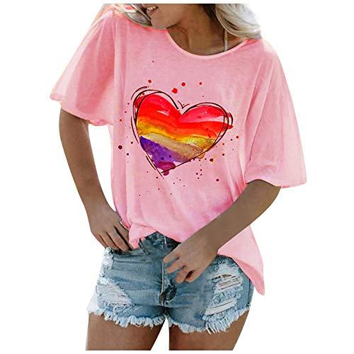YANFANG Jersey con Cuello en O para Mujer, Camiseta de Manga Corta con Estampado de Color sólido y Amor,Elegante Mujer Invierno Primavera Otoño