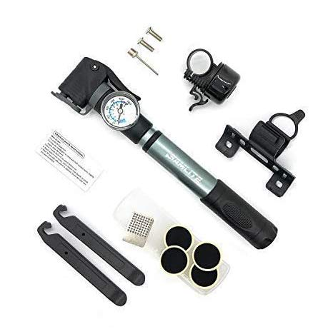 New Mini Bike Pump Portable Bicycle Frame Pump Glue Less Puncture Repair Kit Presta and Schrader Valve Includes Mount Kit Pressure 120 PSI 8 Bar Free Bike Bell Sports Needle Included (New Bike Pump)