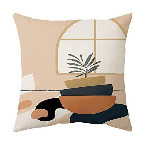 XINWO 1PCS Cotton Linen Cushion Cover Cartoon Pillow Case Square Sofa Cushion Cover Suitable for sofa bedside car 45x45cm