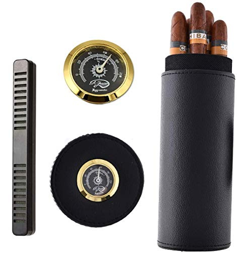 Banveno Travel Cigar Case with Cigar Humidor, Portable Cigar Humidor Humidifier with Built-in Hygrometer, Cigar Holder Tube for 5 Cigars, Gift Wrapped Package