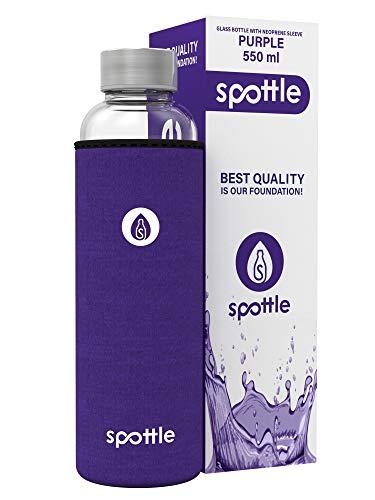 spottle® Glasflasche mit Neoprenhülle in 750ml – LILA