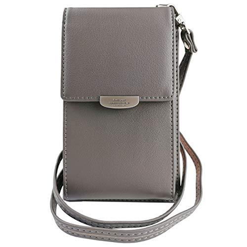 ZhengYue Frauen Brieftasche Cross-Body Tasche Leder Geldbörse Handy Mini-Tasche Kartenhalter Schulter Brieftasche Tasche Grau