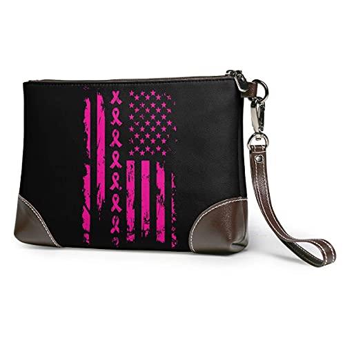 Hdadwy Cinta rosa bandera americana cáncer de mama mujeres portátil suave cuero genuino embrague pulsera pequeña bolsa clásica cartera grande