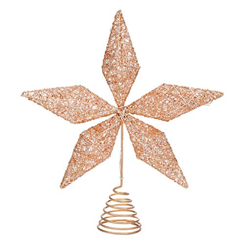 STOBOK Christmas Tree Topper Star, Treetop Lighted Star with Iron Wire String Lights Glitter Lighted Rose Gold Tree Topper for Christmas Tree Decorations - Rose Gold