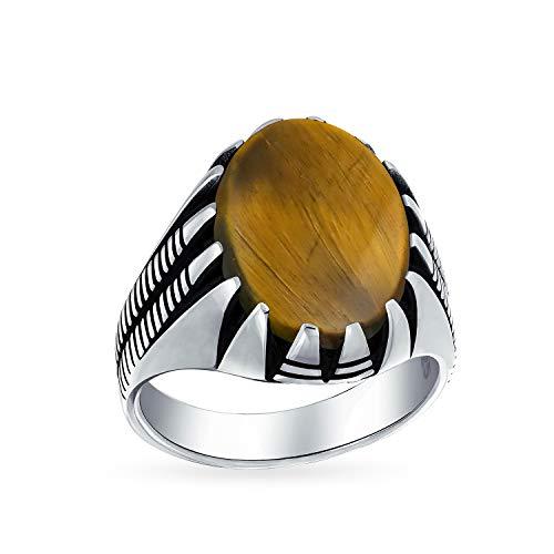 Hombres garra conjunto gran ovalado cabujón piedra preciosa dorado marrón tigre ojo signo anillo para los hombres sólido oxidado 925 plata hecha a mano en Turquía