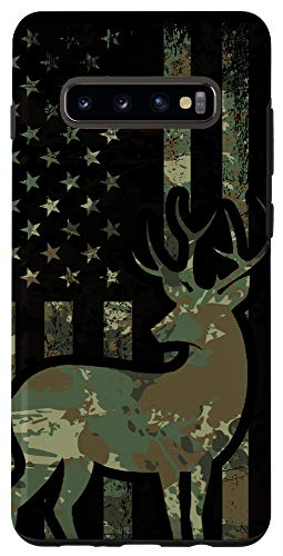 Galaxy S10+ Buck Hunting Phone Case Camo American Flag Hunter Camouflage Case