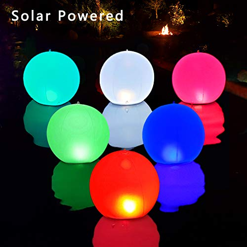 Solar LED Lights Inflatable, 14' Floating Pool Lights Waterproof 4 Color Changing Hangable Ball Light for Pond Pool Beach Wedding, Patio Decorative Night Light, Event Party as Mood Lights-1PC
