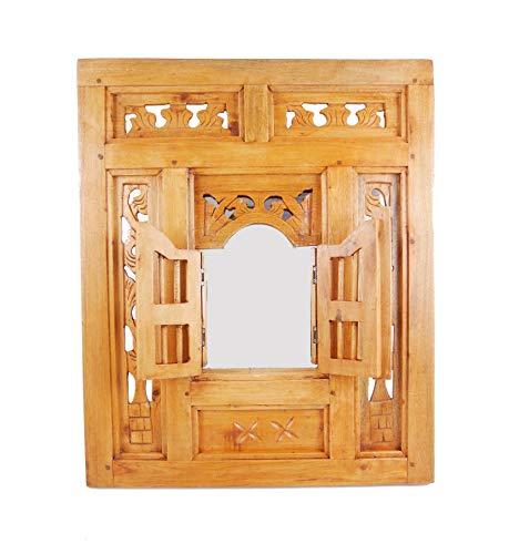 Coco Papaya spiegel venster Oriental hout stijl moucharabieh 50 x 60 cm natuurlijke afwerking