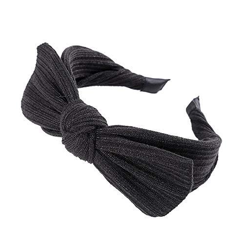 Dames Hoofdbanden Haarbanden Effen Breien Grote Boog Haarbanden Eenvoudige Gebreide Bow-knoop Meisjes Hoofdbanden Alle Side Wrap Anti-slip Haarband B