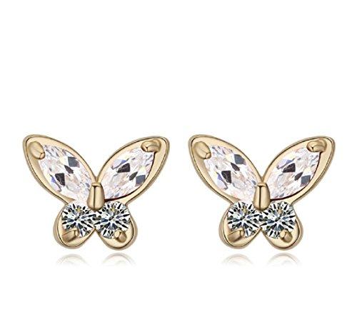 Mariposas Pendientes con Blanco Cristales austríacos de Zirconia 18k Chapado en oro para mujer y niña