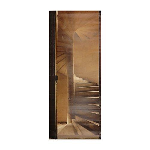 PLAGE 141016 Adesivo per pareti e Porte, Formato Grande, Trompe L'Oeil Porta-Scale in Pietra, 204 x 83 cm