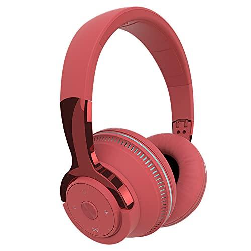 XJPB Auriculares inalámbricos con micrófono sobre el oído Auriculares Ejercicio Estéreo Bajo Profundo 24 Horas Escuchar Soft Earmuffs Bluetooth PC TV Auriculares para Oficina/Gimnasio,Rojo