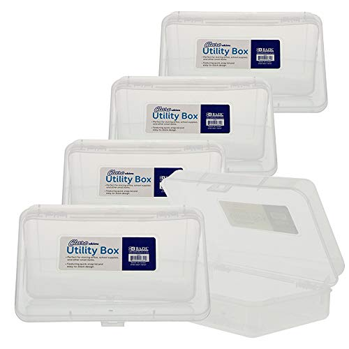 BAZIC Clear Multipurpose Utility Box, Cubby Cubes Bin Pen Pencil Boxes Storage, Desk Plastic Organizer Case, Transparent See Thorogh, 4-Pack