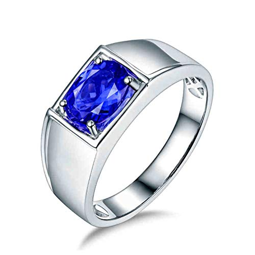 Amody Bridal Wedding Rings, Engagement Bands for Men White Gold Oval cut 1.26ct Tanzanite Size T 1/2