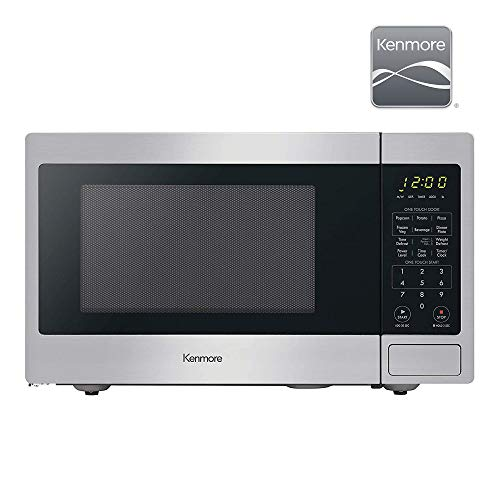 Kenmore 70923 0.9 cu. ft Small Compact 900 Watts Countertop Microwave with 10 Power Settings, 12 Heating Presets, Removable Turntable ADA Compliant, Stainless Steel
