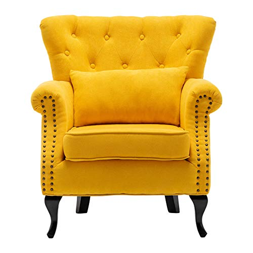 INMOZATA Armchair Velvet Fabric Tufted Upholstered Occasional Lounge Seat Modern Tub Chair with Pillows for Dining Living Room Bedroom Office Reception (Yellow)