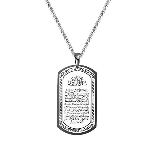 Boomly Men Islam Pendant Necklace with Chain Teaching military card Titanium steel Arabic Muslim Allah Religion Totem Jewelry Accessories (Black)