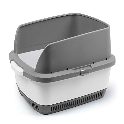 Cateco Odor Control Cat Litter Box Complete Starter Kit to Naturally Control Litter Box Odor with Height Extension, 10 Dry-Pads and Scoop - Gray