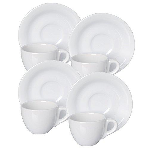 Excelsa Classic Set Tazze da caffè con Piattino, Porcellana, Bianco, 4 Pezzi