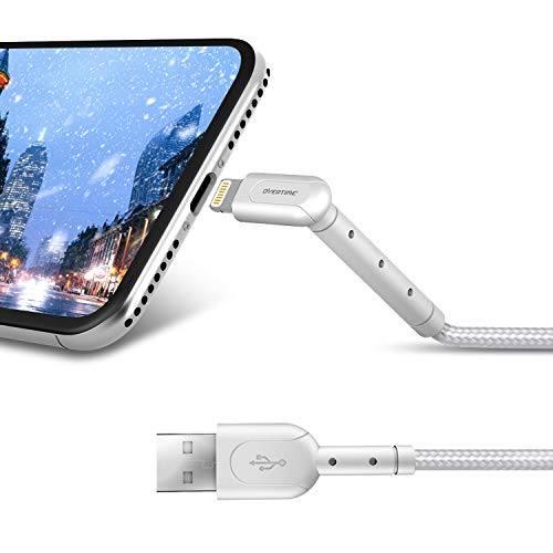 iPhone Charger 6ft (4-Pack), Apple MFi Certified Lightning Cable Stand, Braided Nylon High-Speed Cable for iPhone 11/11 Pro/11 Pro Max/X/XS/XR/XS Max/8/7/6/5S/SE, AirPods/Pro, iPad Mini/Air - White