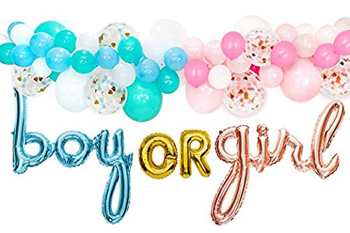 Gender Reveal Party Supplies Decorations – for Boy or Girl with Rose Gold & Blue Foil Balloons, Balloon Garland Decorating Strip with 76 Assorted Blue, Pink, Confetti Latex Balloons, and Hand Pump