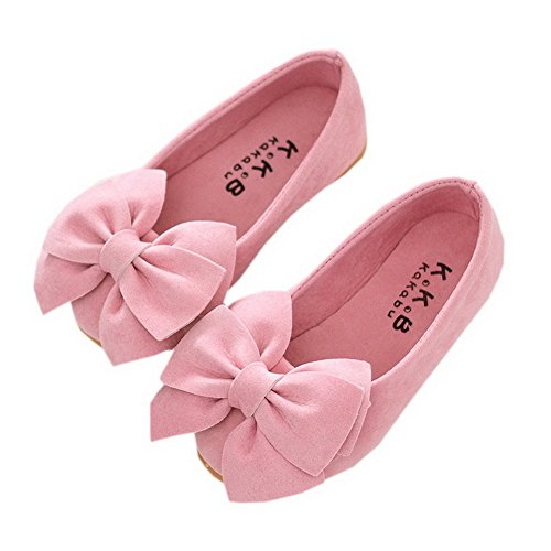 Vokamara Faux Suede Bow Round Toe Ballet Flats Slip On Shoes Pink 32