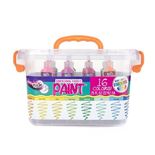 Tulip Dimensional Fabric Paint Big Box, Creative Party Kit, Includes Reusable Plastic Bin, Permanent 3D Paint for Fashion DIYs, Rock Painting, Arts & Crafts, Rainbow Colors, 16-Pack