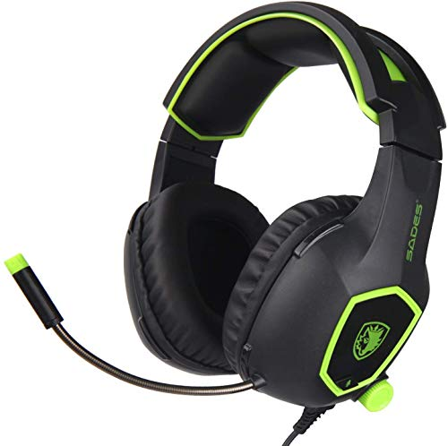 SADES SA818 Gaming Headset for New Xbox One PS4 PC Laptop,3.5mm Over Ear Gaming Headphones with Mic and Volume Control for Nintendo Switch Games,Green Categories