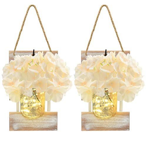 Rustic Wall Sconces Set of 2 Mason Jar Wall Light with Artificial Flower LED String Light Vintage Design 30 LED Fairy Lights 6 Hours Timing for Home Garden Bar Decoration (Yellow)