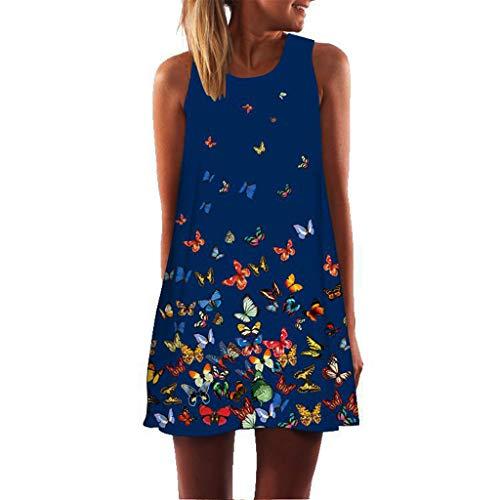 COZOCO CamisóN Mujer Algodon Verano Corto,Vestidos Pijama Casual Boho Comodo Y Suave Casual Sin Manga (15-Azul,EU-38/CN-L)