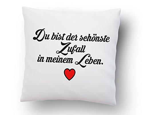 Liebes Kissenbezug ''Du bist der schönste Zufall in Meinem Leben.'' - Kissen-Hülle - Deko-Kissen - weiß 40cm x 40cm - Liebe - Schatz - Beziehung -