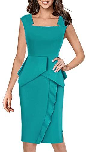 HOMEYEE Vestido de lápiz con Volantes y Cuello Cuadrado Vintage para Mujer B446 (EU 42 = Size XL, Turquesa)