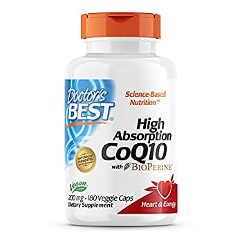 Doctor s Best High Absorption CoQ10 with BioPerine Non-GMO Gluten & Soy Free Naturally Fermented Vegan Heart Health and Energy Production 200 mg 180 Count