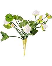 BESTOYARD フェイクグリーン 造花 蓮の葉 人工観葉植物 枯れない花 インテリア 雑貨 家庭飾り 植物装飾 観葉植物 2本セット(ホワイト)