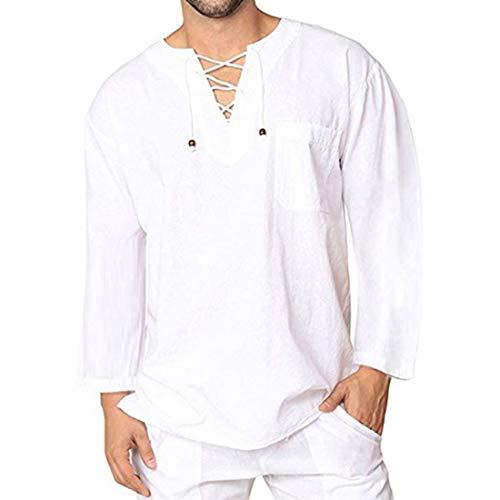 XWLY Hemd Herren Lose Tüll Herren Oberteile Einfache Lässige Urlaub Herren Hemden Atmungsaktive Weiche Herren Oberteile Temperament Langarm Herren Hemd White. 3XL