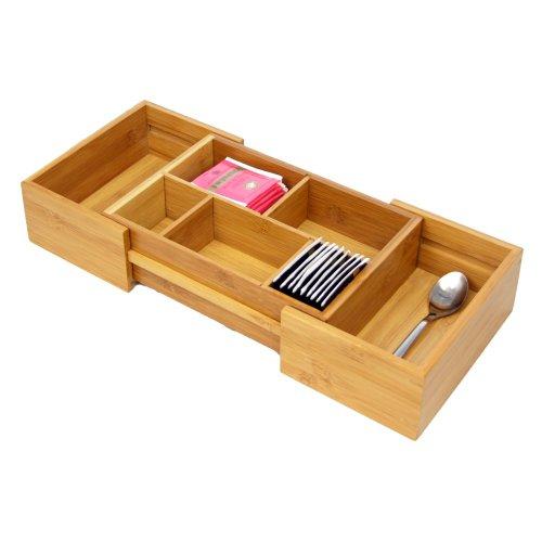Woodquail  Bambus Klein Variabler Besteckkasten Schubladenorganizer Platzsparend, Erweiterbar, Einstellbar von 24.7 - 40.5 cm