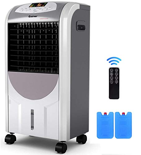 GOFLAME Air Cooler and Heater, Portable Evaporative Air Conditioner Fan Filter Humidifier with Ice Crystal Box, Remote Control, Adjustable 3 Fan Speed, Compact Air Cooler for Indoor Home Office Dorms