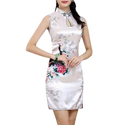 XueXian(TM) Mujer de Elegente Qipao de Estilo China con Sin Mangas(China XXL/EU 42,blanco)