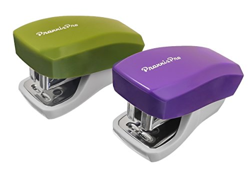 PraxxisPro Mini Staplers with Box of 1000 Staples and Built in Staple Remover, Staples 2 to 18 Sheets, Set of 2, Purple and Greenery. …