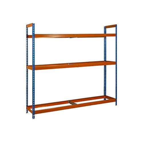 Estantería metálica para ruedas Autoforte 3 estantes Azul/Naranja Simonrack 2000x1200x450 mms - Almacén de ruedas - Estantería para ruedas - 300 Kgs de capacidad por estante