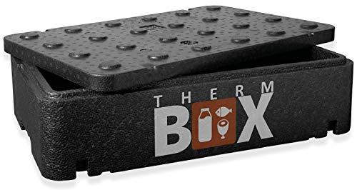 THERM BOX Thermobehälter Flach 21,5 Liter Isolierbox Thermobox Warmhaltebox Kühlbox Styroporbox GNL Innen: 54x34x11cm Wiederverwendbar