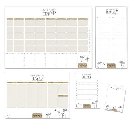 5 Organizer Blöcke im Set - Recyclingpapier Monatsplaner, Wochenplaner, Einkaufsliste, To-do & Nicht vergessen Notizblock, Design Abreißblöcke, klimaneutral produziert