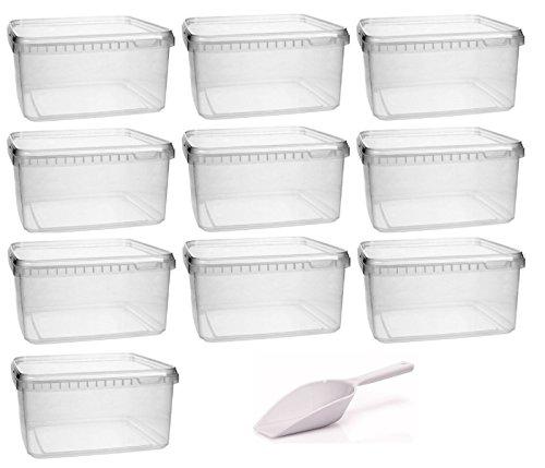 mikken Kunststoffdose 10x 1,7 Liter Plastikdose mit Deckel, BPA-frei, lebensmittelecht inkl. 1 Schaufel, Kunstoff PP, Transparent