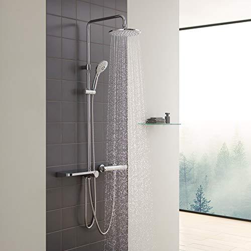 CECIPA Duschsystem mit Ablage, Duschset ohne Armatur, Regendusche ohne Thermostat, Regenduschset mit ABS Kopfbrause D225mm, Duschsäule mit Handbrause 3 Wasserstrahlarten (Chrom u. Weiß)