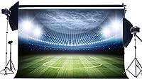 HDフットボールフィールドの背景10x7ftビニールインテリアスタジアムの背景グリーングラスメドウスポーツマッチステージライトジムの写真撮影の背景学校のゲームの男の子の誕生日の写真スタジオの小道具123