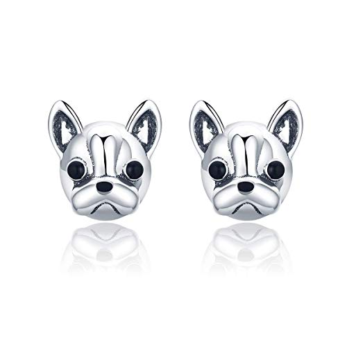 100% 925 Sterling Silver Loyal Partners French Bulldog Dog Animal Small Stud Earrings for Women Oorbellen Jewelry
