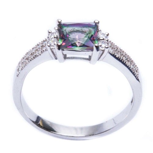 Oxford Diamond Co .925 Sterling Silver Princess Cut Rainbow Colored CZ & Cz Ring Size 7
